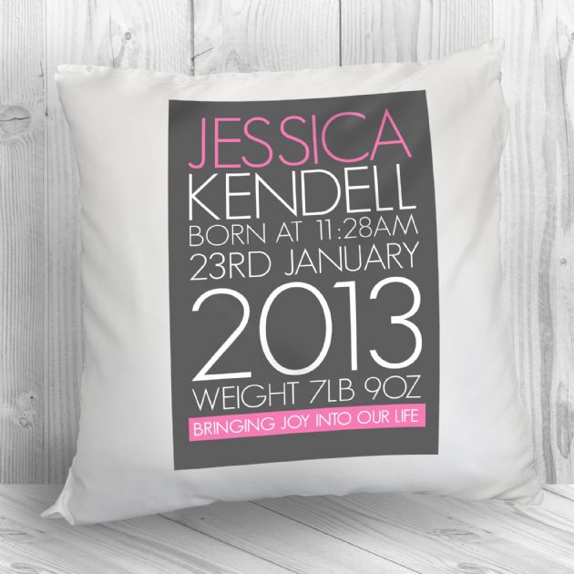 Personalised Baby Cushion in Pink